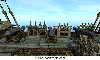 Cannon - Image of cannon and sailing boat