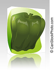 Bell pepper illustration box package - Software package box...