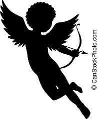 cupid silhouette - Black vector silhouette of a cupid...