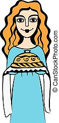 girl with bread and salt - Vector illustration of a young...