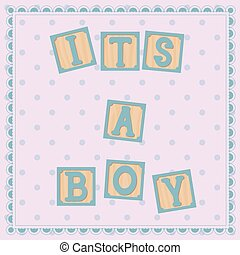 Its a boy card with cubs - Vector its a boy card with cubs