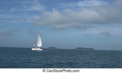 Summertime. View of trip on sailing yacht
