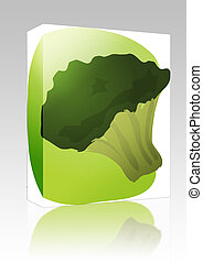 Brocolli illustration box package - Software package box...