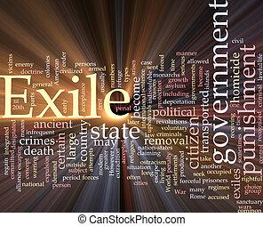 Exile word cloud glowing