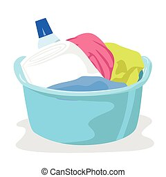 basin full of laundry and detergents isolated on white...