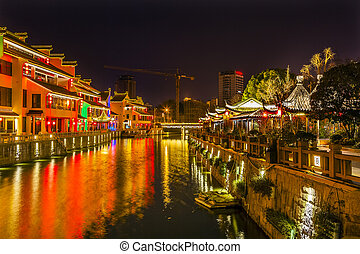 Water Canal Near Nanchang Temple Wuxi Jiangsu China Night -...