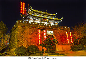 Ancient City Wall Gate to Water Canal Near Nanchang Temple...