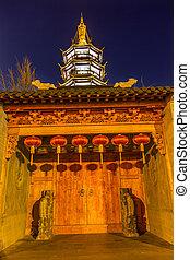 Buddhist Nanchang Temple Wooden Door Pagoda Wuxi Jiangsu...