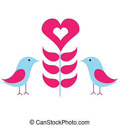 birds in love - beautiful birds in love with floral heart