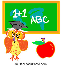 classroom - a owl with an apple standing infront of the...
