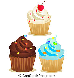 vector cup cake set - a beautiful set of cupcake in various...