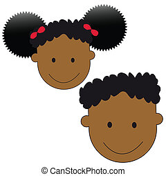 superkids - a set of african american boy and girl faces...