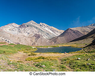 Blue Lake in the Andes, near of Aconcagua - A trekking trip...
