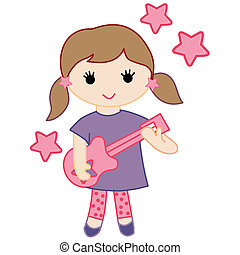 girls rock vector pack - a vector illustration of a girl\'s...