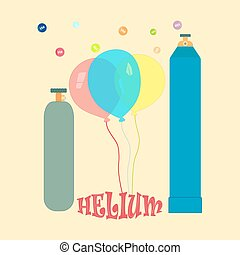 Balloons with helium - Balloons, metallic cylinders with...