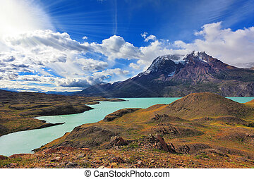 National Park Torres del Paine, Patagonia, Chile Emerald...