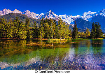 The resort of Chamonix, Haute-Savoie - The snow-covered Alps...