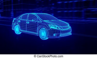 Abstract 3D Car Animation wireframe