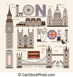 London attractions collection - retro London attractions...