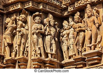 Famous stone carving sculptures of Khajuraho - Famous stone...