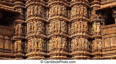 Famous stone carving sculptures of Khajuraho - Panorama of...