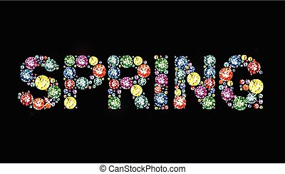 Gem word spring - Word spring made of colored gems