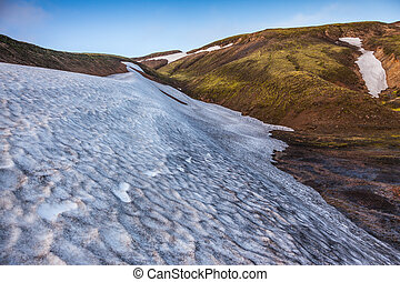 Big unmelted in July snowfield - Summer morning in the...