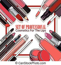 set of professional Cosmetics for Lips