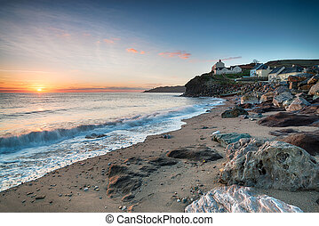 Sunrise at Hallsands in Devon