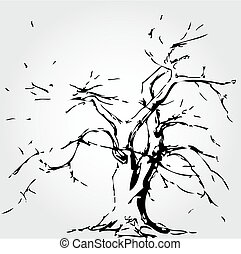 Abstract tree with fallen leaves