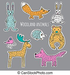 Set forest animals - Collection of forest animals hand-drawn...
