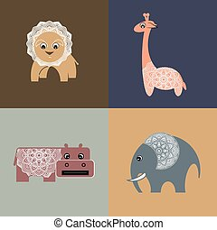 African animals. Stylized vector illustration.