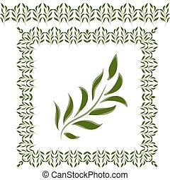 Green leaves and green frame to decorate your work on...