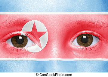 human and 39;s face with north korea flag - human39;s face...