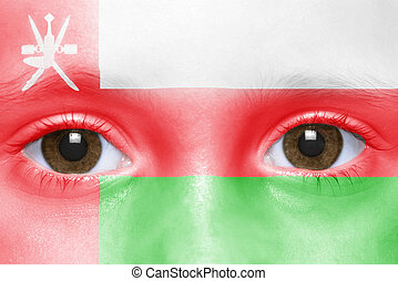 human and 39;s face with omani flag - human39;s face with...