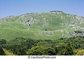Karst topography hill and green forest under blue sky