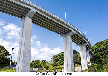 Flyover bridge under blue sky in Hirado, Nagasaki