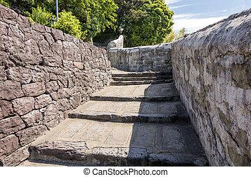 Loose stone steps between the stone wall in Hirado, Nagasaki