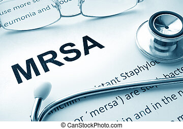 Paper with word MRSA - Paper with words MRSA...