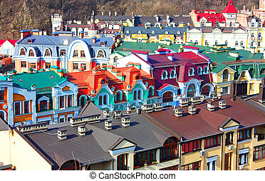 small colore country of Podol taken in Kiev, Ukraine, spring...