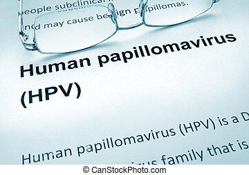 papel, com, palavras, hpv, infecção,
