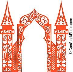 Red vintage arch applique isolated on white background Cut...