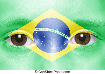 human and 39;s face with brazilian flag - human39;s face...