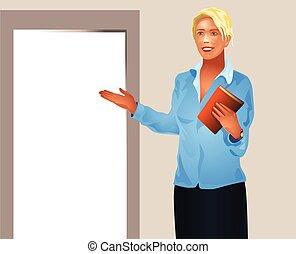 Businesswoman invites enter