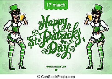 Pretty leprechaun girl with beer, St Patricks Day logo...
