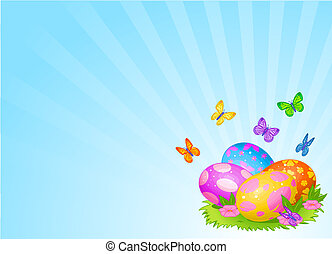 Beautiful Easter eggs background