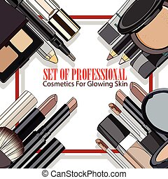 set of professional cosmetics for glowing skin