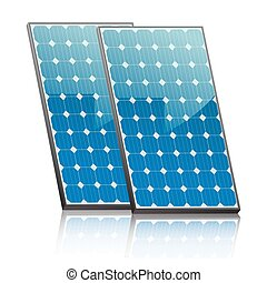 solar panels - two solar panels in blue with reflection