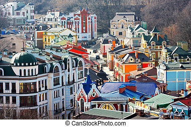 Beautiful colored little buildings od Podol in Kiev taken in...