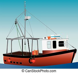Fishing Boat - An Orange and White Inshore Fishing Boat with...